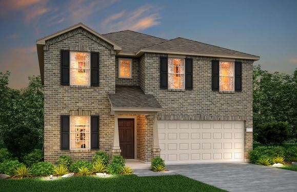 Exterior:The Kisko, a two-story home with 2-car garage, shown with Home Exterior N