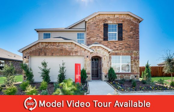 Sandalwood:The Sandalwood, a two-story home with 2-car garage, shown with Home Exterior S