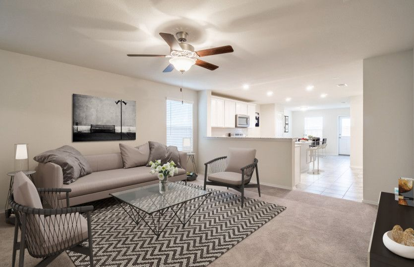 Taft:Spacious gathering room with view of kitchen
