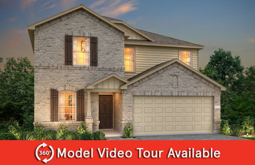 Sandalwood:The Sandalwood, a two-story home with 2-car garage, shown with Home Exterior O