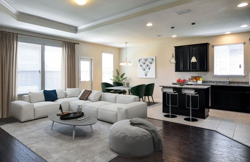 Interior:Model Representation - Spacious gathering room with optional fireplace
