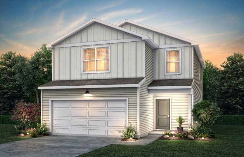 Oriole:Oriole Exterior TD101 features siding, covered front door and 2 car garage