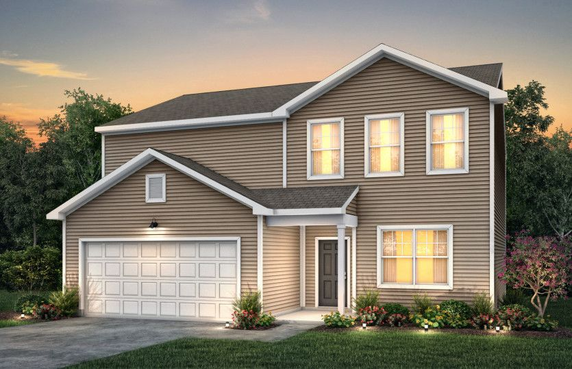 Rosella:Rosella Exterior TD101 features siding, covered front door and 2 car garage