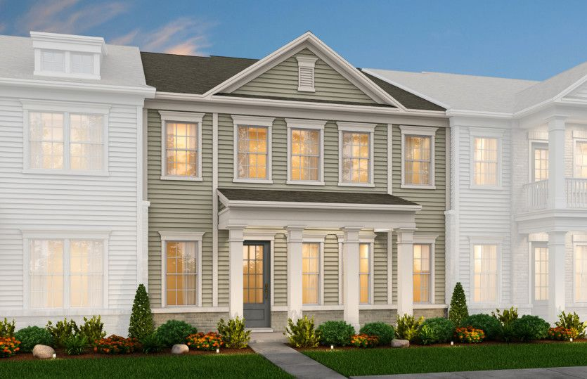 Exterior:Hayden Exterior 1 features Hardi Board siding, brick accents, covered front porch and rear 2 car garage