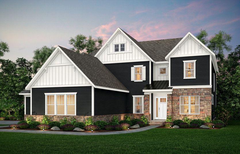 Hampton:Hampton Exterior 4 features Stone, Hardi Board Siding and Covered Front Door