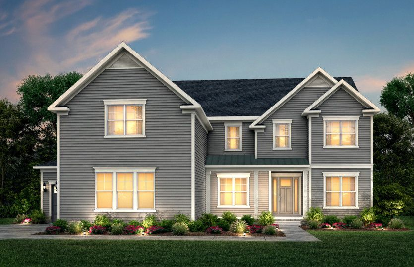 Sutton:Sutton Exterior 1 features hardie siding, covered front porch and 3 car sideload garage