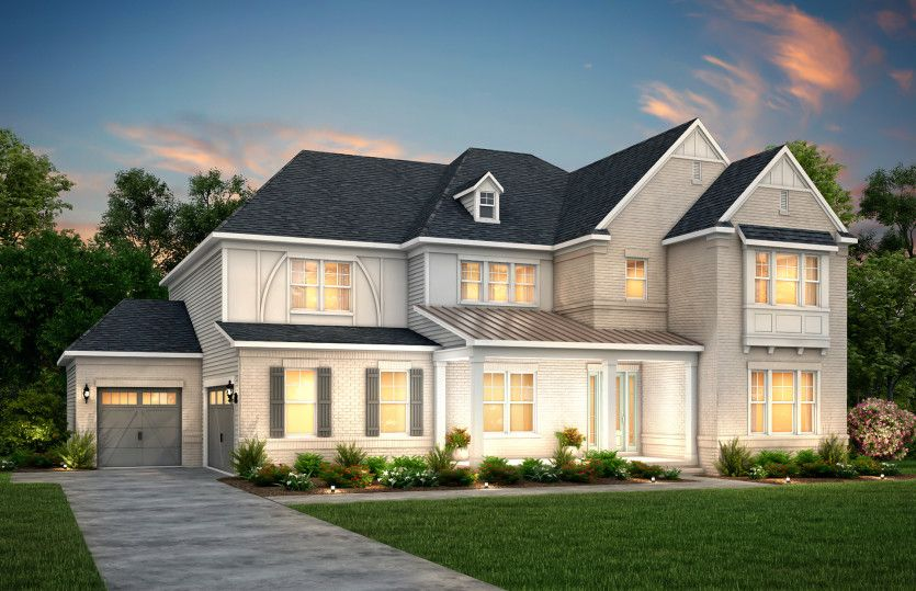 Exterior:Fearington Exterior 15 features brick, hardie siding, covered front porch and 3 car sideload garage