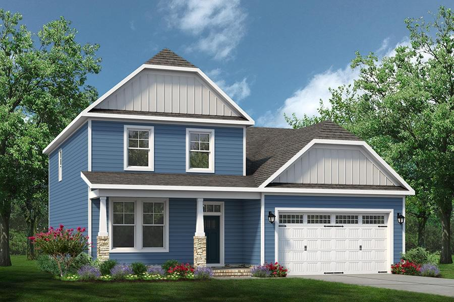 Exterior:Elevation A w/Optional Full Front Porch and Stone Columns