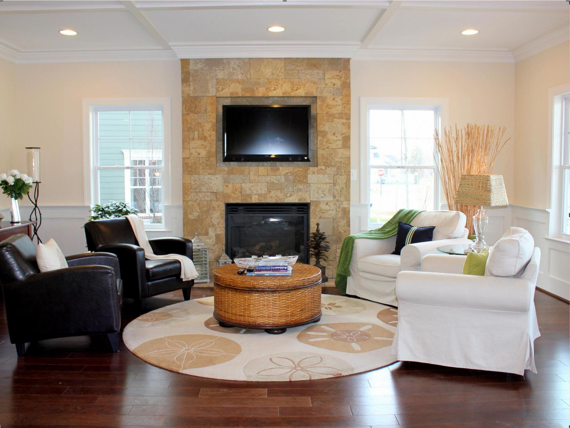 Kitty Hawk Legacy:Living Room with Coral Reef Wall Fireplace (Model Home Image)