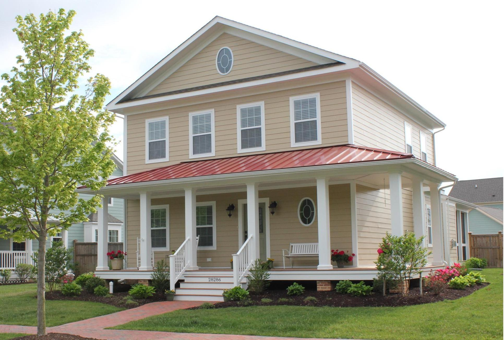 Front Elevation with Turn Gable Roof and Wraparound Porch