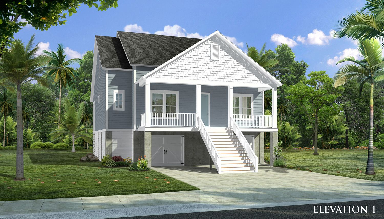 Elevation 01 -Elevated Home:Preakness II Elevated - Water Front Homesite