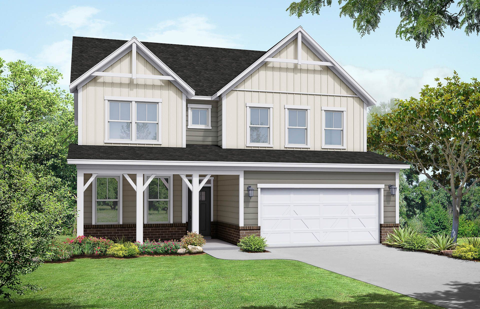 Davidson Homes The Willow B Floor Plan Exterior Rendering