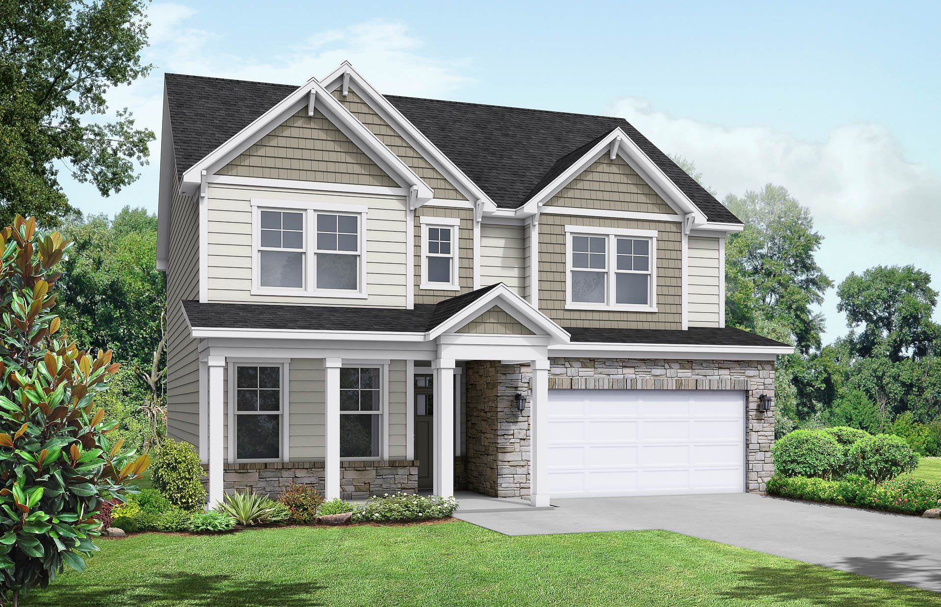 Davidson Homes The Chestnut Floor Plan Exterior Rendering