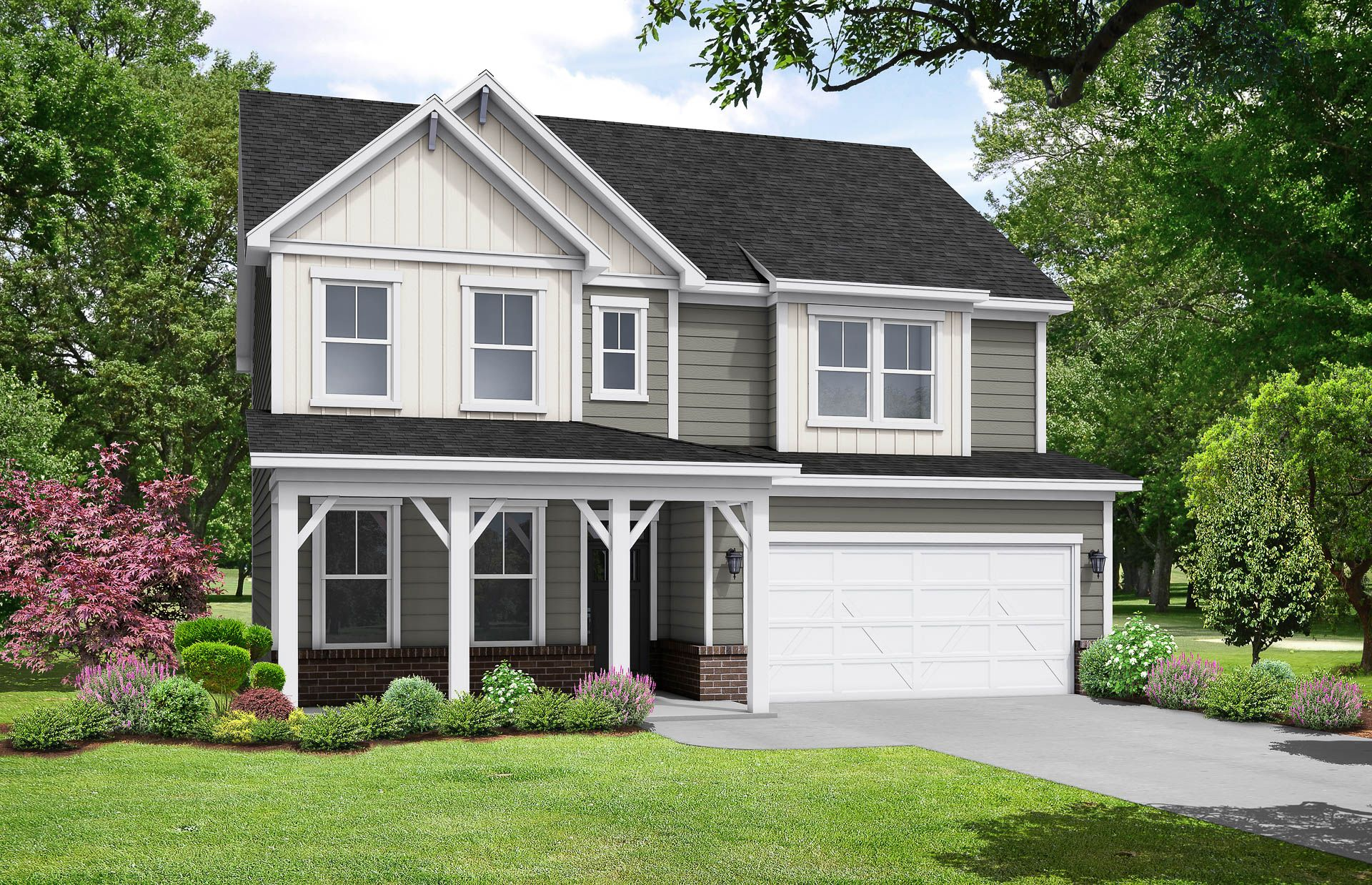 Davidson Homes he Chestnut B Floor Plan Exterior Rendering