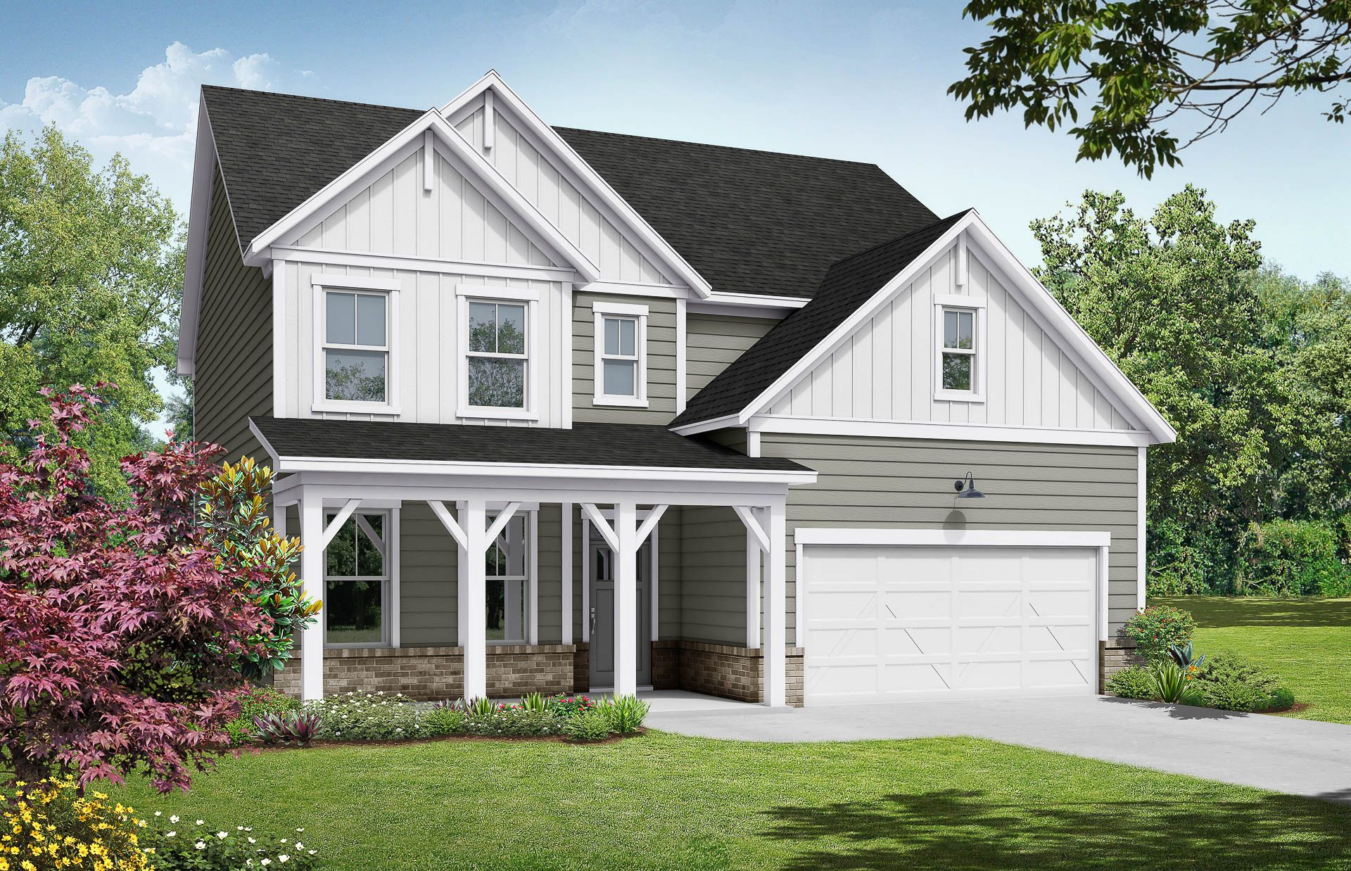 Davidson Homes The Hickory B Floor Plan Exterior Rendering