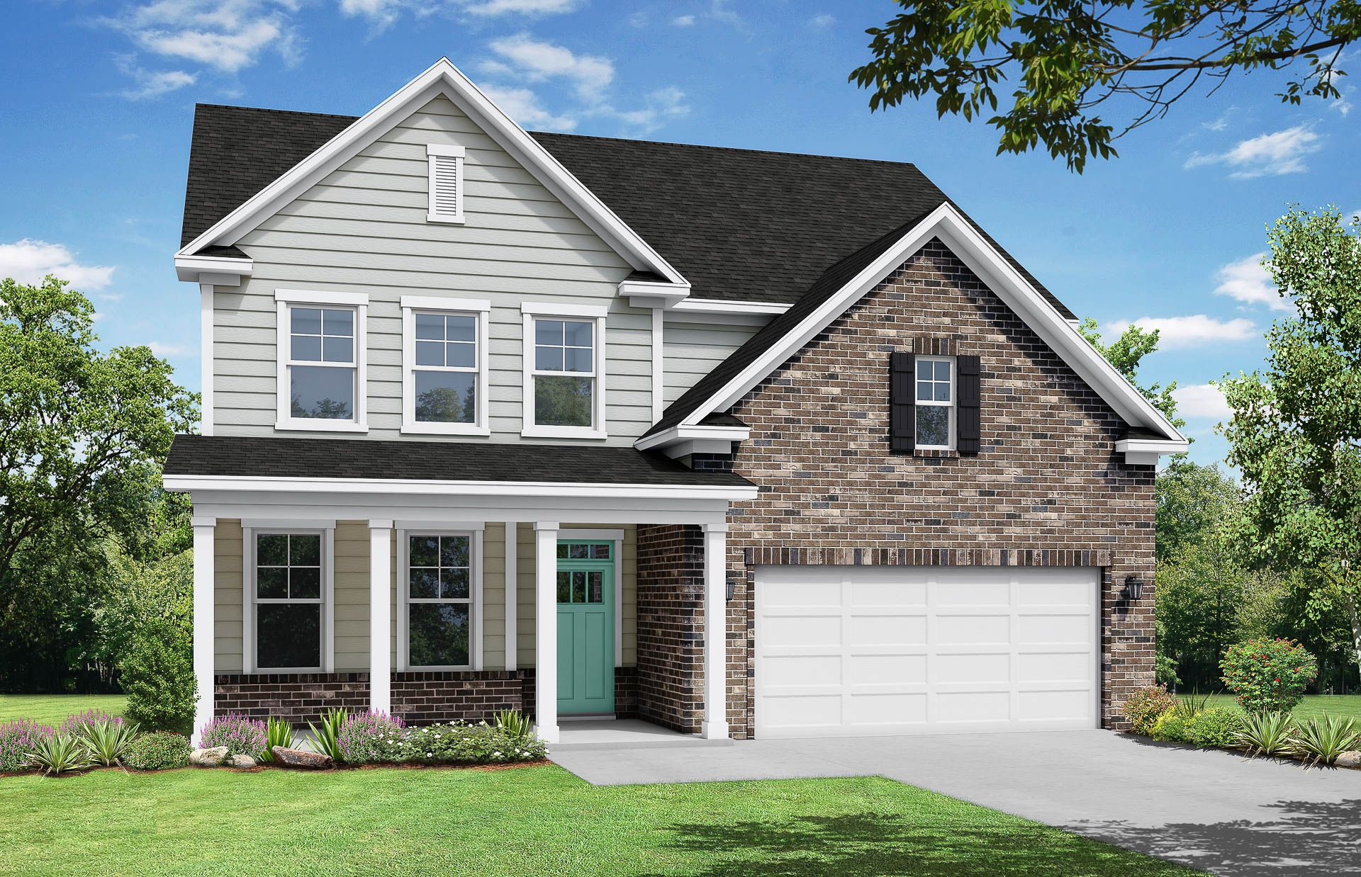 Davidson Homes The Hickory C Floor Plan Exterior Rendering