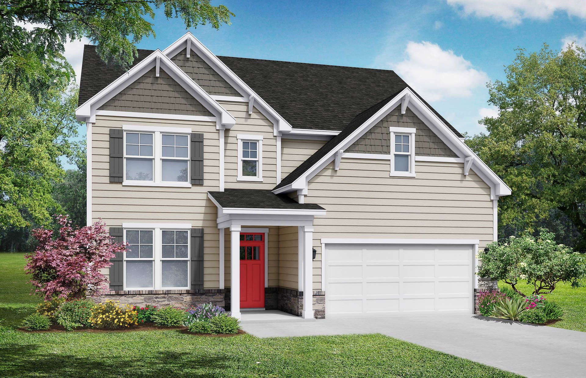 Davidson Homes The Hickory Floor Plan Exterior Rendering
