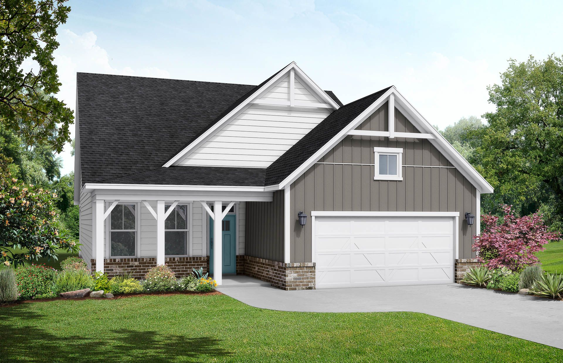 Davidson Homes The Maple B Floor Plan Exterior Rendering