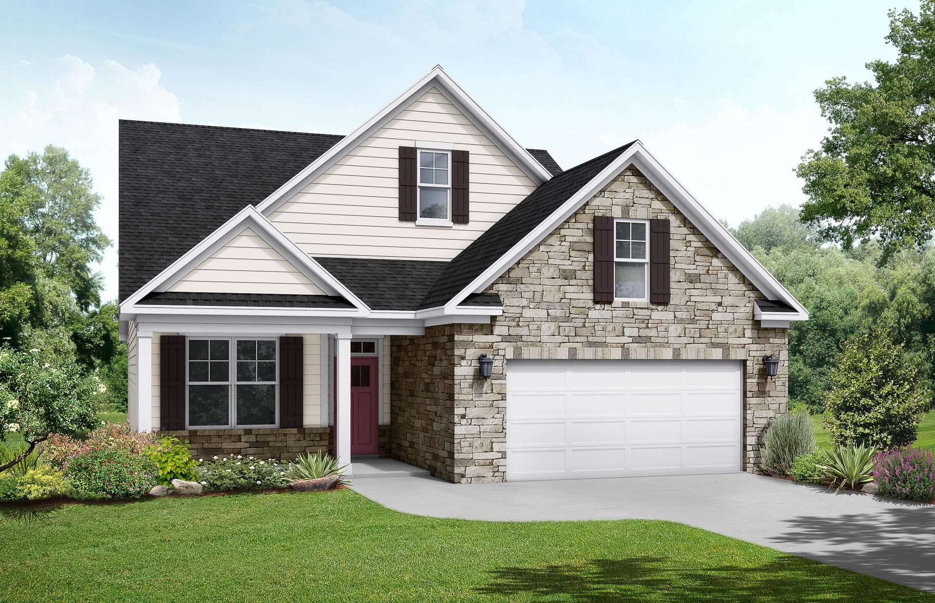 Davidson Homes The Maple C Floor Plan Exterior Rendering