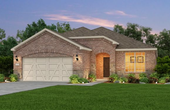 Exterior:Exterior C, the Martin Ray with stone accents and 2-car garage