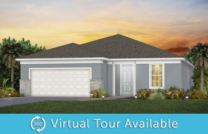Mainstay:The Mainstay, a one-story single family home with a 2 car garage, shown as home exterior FM1