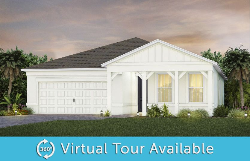 Prestige:The Prestige, a one-story single family home with a 2 car garage, shown as home exterior CO3