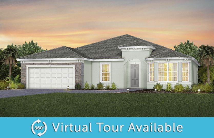 Stardom:The Stardom, a one-story single family home with a 2 car garage, shown as home exterior FM3