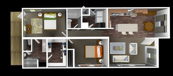 The Clubhouse:1222 SqFt 2Bed/2Bath