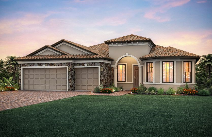 Pinnacle:Exterior FM2B with stone detail and bay window