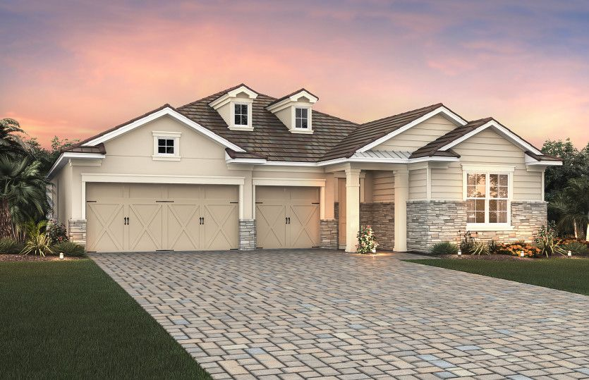 Creekview:Elevation LC2B with stone