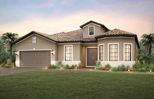 Stonewater:The Stonewater, a one-story family home with loft option and a 2 car garage, shown with Home Exterio