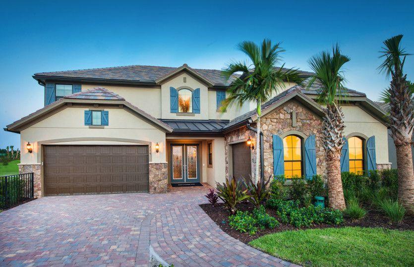 Garden Vista:The Garden Vista, a two-story family home with a 3 car garage, shown with Home Exterior EC2A