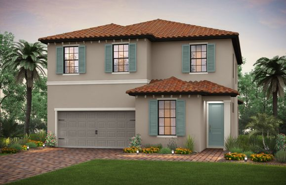 Riverwalk:The Riverwalk, a two-story family home with a 2 car garage, shown with Home Exterior FM2C
