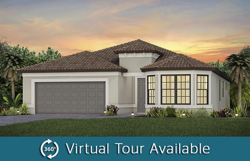 Prosperity:The Prosperity, a one-story single family home with a 2 car garage, shown as Home Exterior FM3