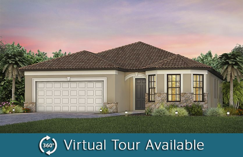 Mystique:The Mystique, a one-story single family home with 2 car garage, shown as Home Exterior FM2