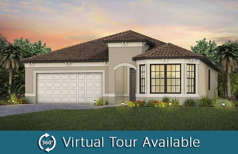 Prestige:The Prestige, a one-story single family home with 2 car garage, shown as Home Exterior FM3