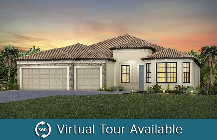 Stellar:The Stellar, a one-story single family home with a 3 car garage, shown as Home Exterior FM3