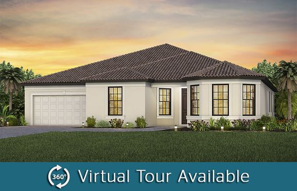 Reverence:The Reverence, a one-story single family home with a 3 car garage shown as Home Exterior FM2