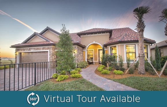 Pinnacle:The Pinnacle, a single-story family home with a 2.5 car garage, shown with Home Exterior FM2B