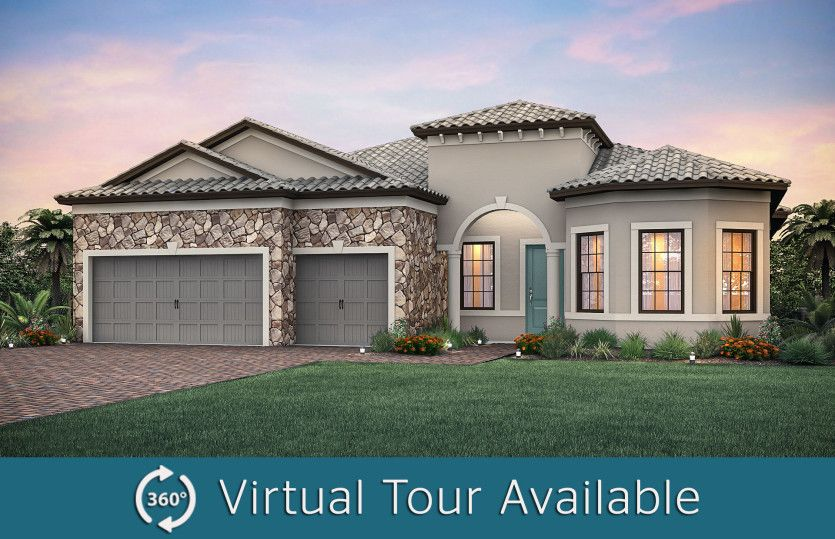 Pinnacle:The Pinnacle, a one-story family home with a 3 car garage, shown with Home Exterior FM2B