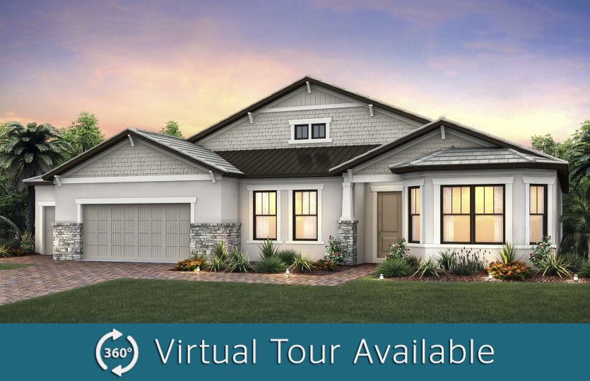 Camelot:The Camelot, a one-story family home with a 3 car garage, shown with Home Exterior C2B