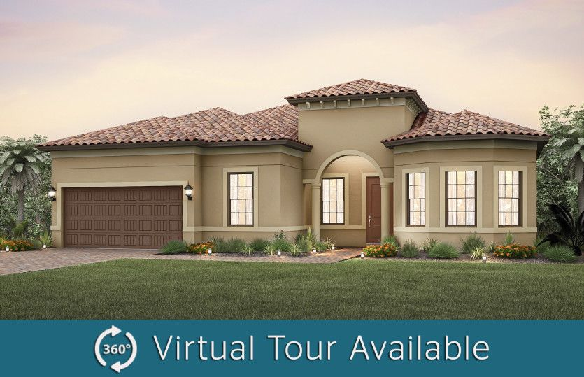 Exterior:The Pinnacle, a one-story family home with loft option and a 2 car garage, shown with Home Exterior FM2A