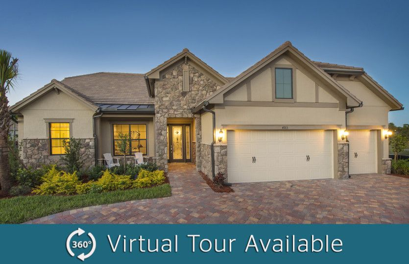 Clubview:The Clubview, a one-story family home with a 3 car garage, shown with Home Exterior EC2A