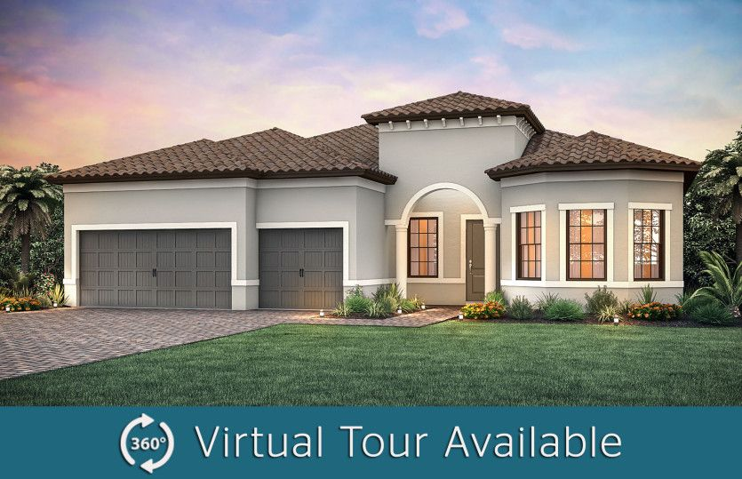 Pinnacle:The Pinnacle, a single-story family home with a 3 car garage, shown with Home Exterior FM2A