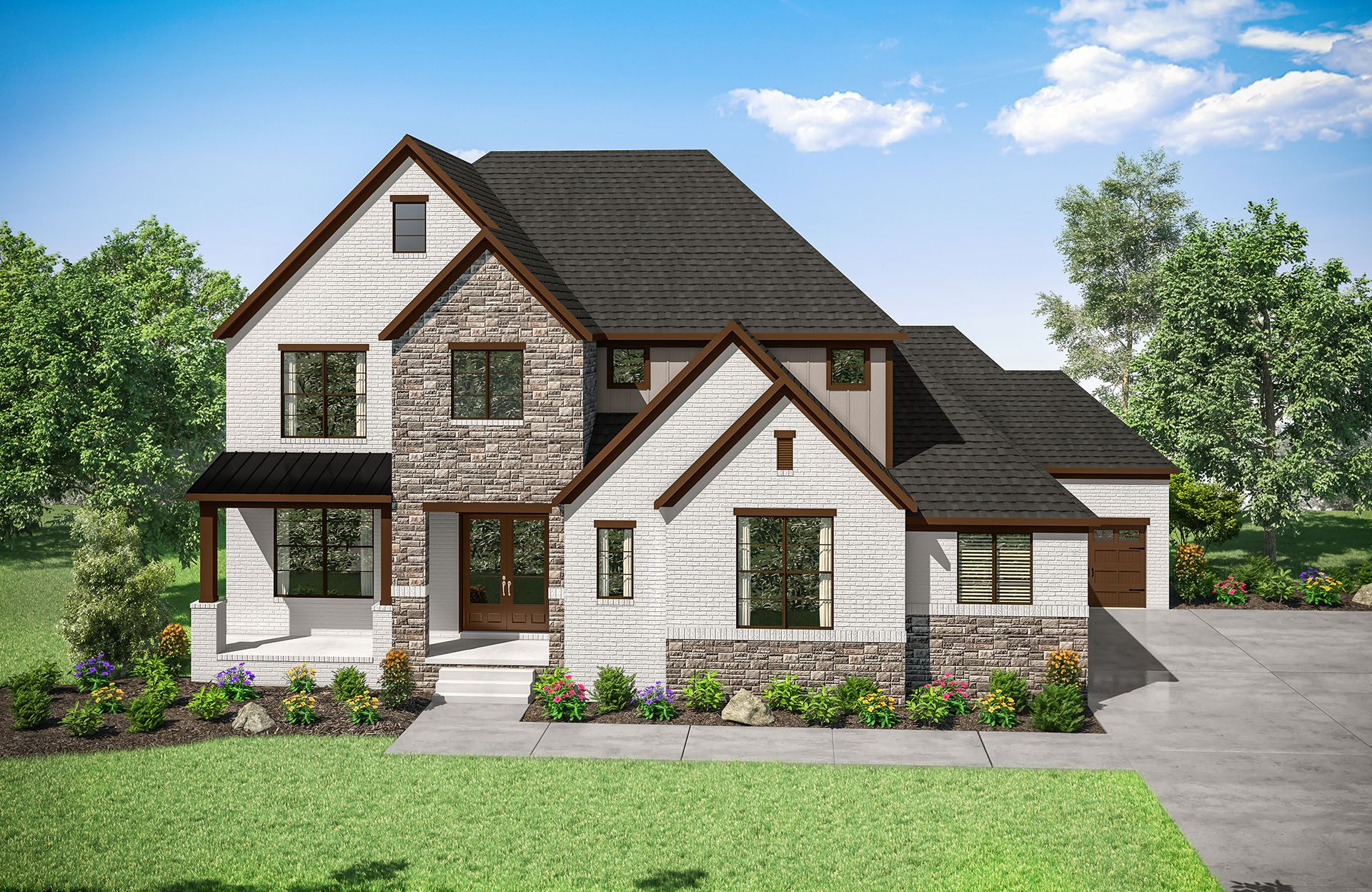 Belvidere A:brick, stone and front porch