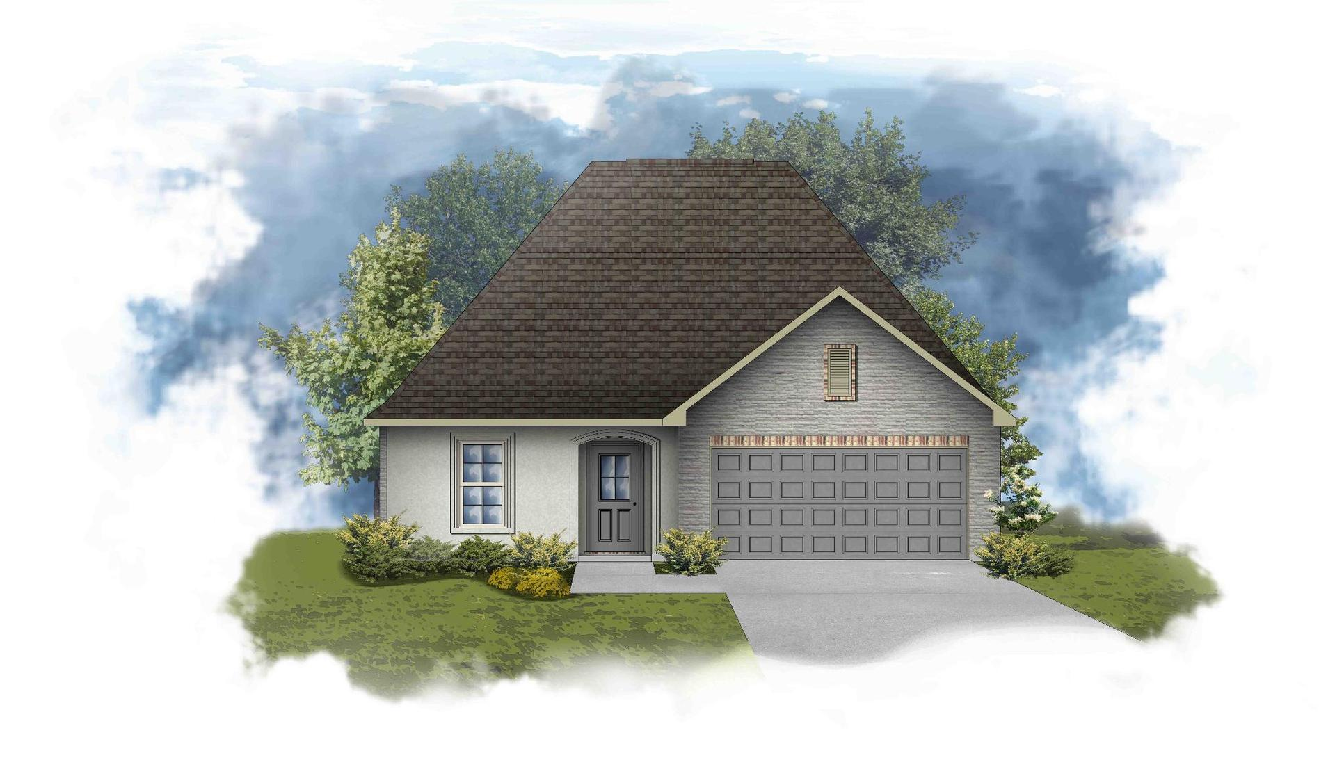 Narbonne III A Open Floorplan Elevation - Painted Brick - DSLD Homes
