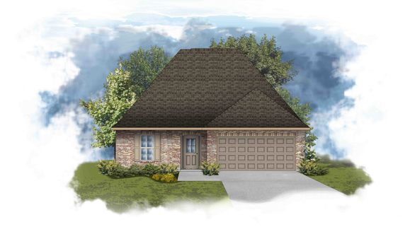 Narbonne III B Open Floorplan Elevation - Painted Brick - DSLD Homes