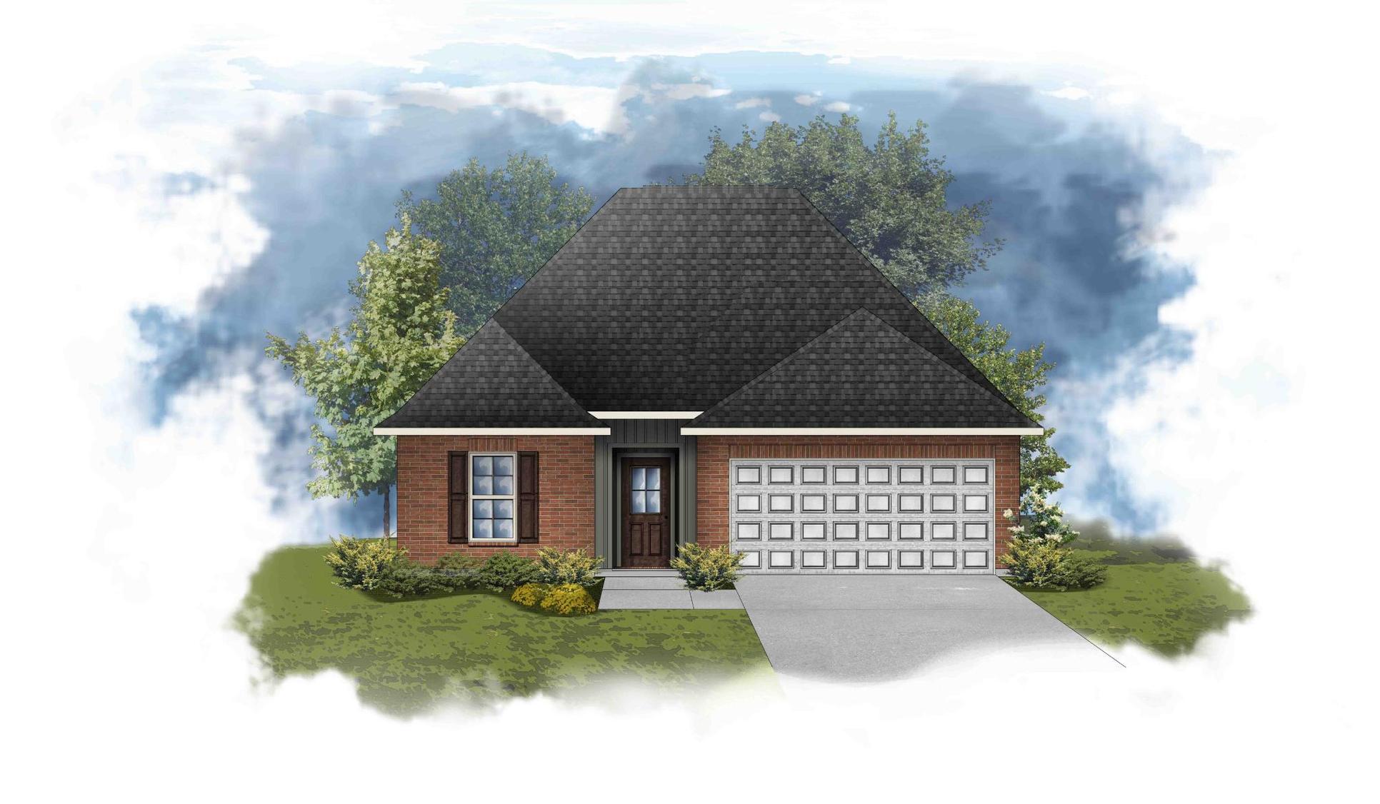 Carlton III H - Front Elevation - Open Floor Plan