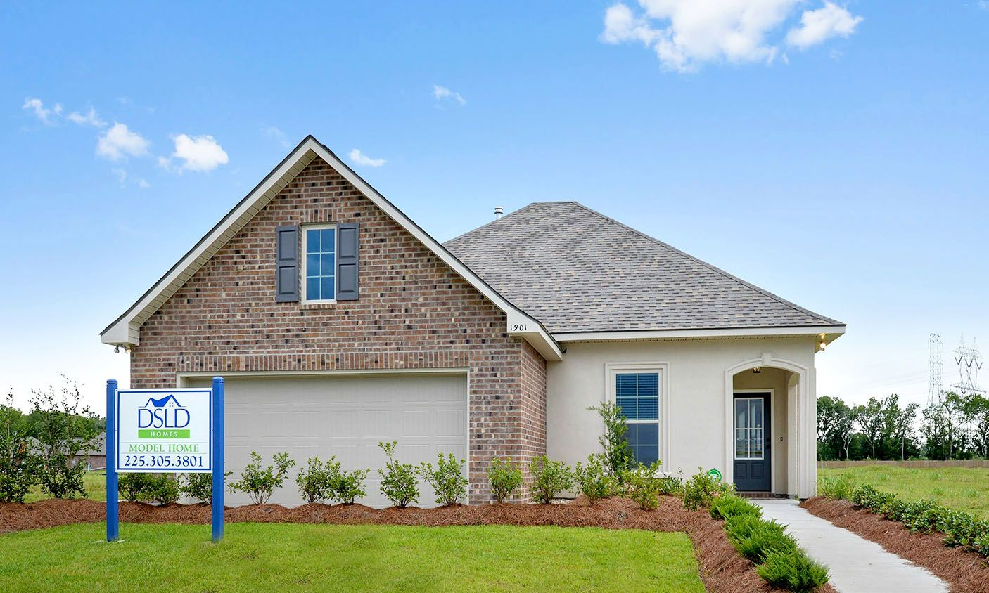 Model Home- Front Elevation - stucco- painted door- DSLD Homes- Baton Rouge area - St. Gabriel- L...:Meadow Oaks Model Home