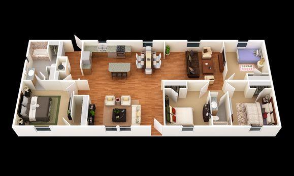 The Brooks:3D Floor Plan